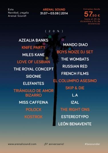 Segunda tanda de confirmaciones de Arenal Sound 2014