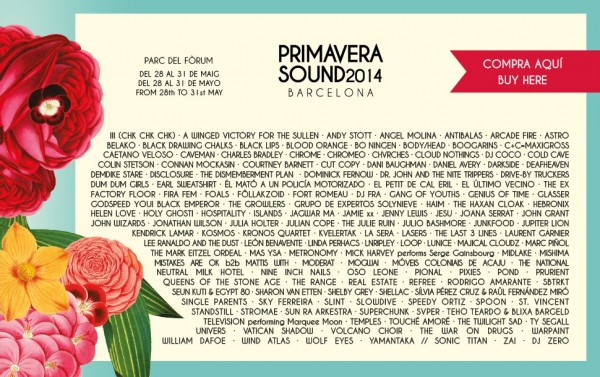 Full line-up for Primavera Sound 2014