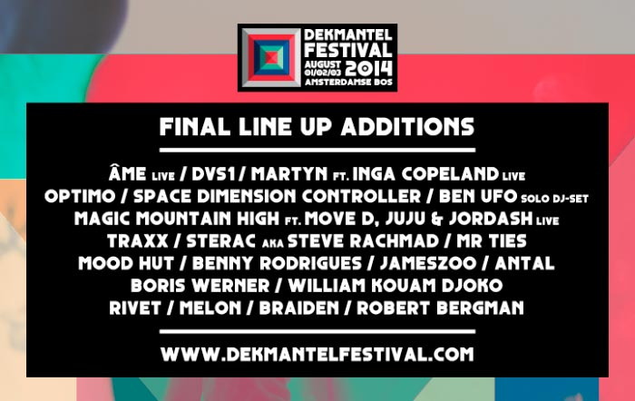Line up closed for Dekmantel Festival 2014 with Martyn and Benny Rodrigues among others