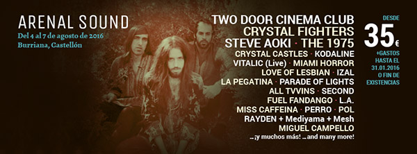 Crystal Fighters y Steve Aoki, al Arenal Sound 2016