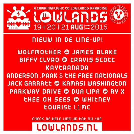 15 new names for Lowlands 2016