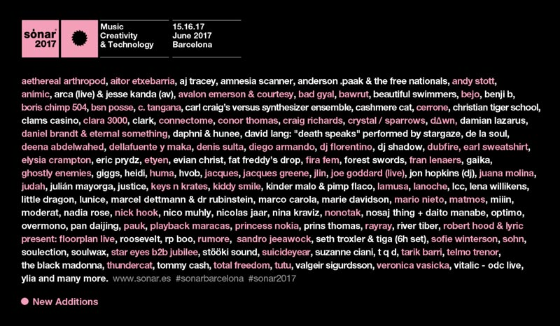 Sónar 2017 adds more than 60 names to its program