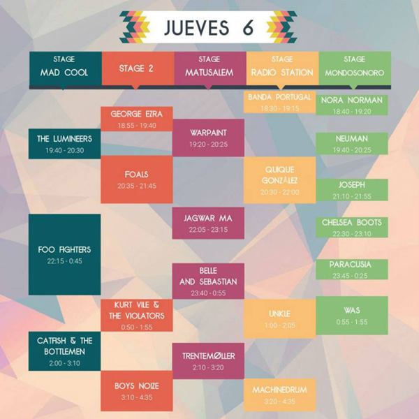 horarios mad cool 2017 jueves