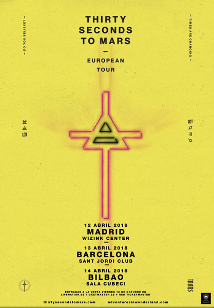 Thirty Seconds To Mars confirman 3 conciertos en España en abril de 2018