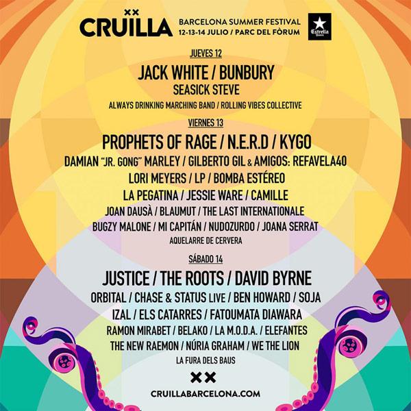 Cartel por días para el Cruïlla 2018