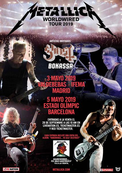 Metallica anuncia conciertos en Barcelona y Madrid en 2019