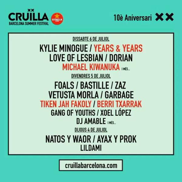Berri Txarrak confirmados para el Festival Cruïlla 2019