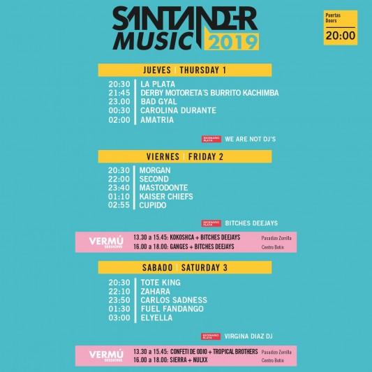 Santander Music 2019 Horarios y Vermu Sessions